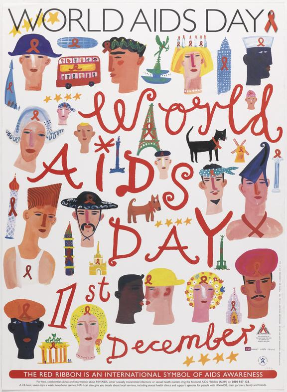 """Poster for """"World AIDS Day, 1st December 1996"""" One of Approximately 800 health education posters produced for the"""
