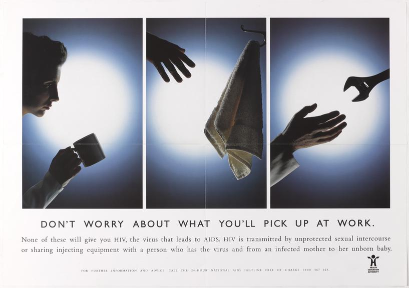 """Poster for """"Don't worry about what you'll pick up at work"""" One of Approximately 800 health education posters produced"""