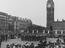 VE Day, The Guards Band plays outside the Houses of Parliament, London       This is a fully retouched and clean,