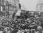 VE Day Celebrations with crowds in the streets of Picadilly, London.       This is a fully retouched and clean, publication