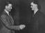 Test Players get together in Manchester, here Brian Close arrives and is greeted by skipper Freddie Brown at the