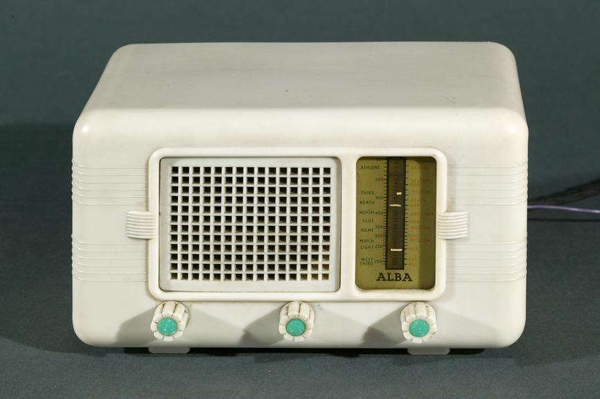 Radio made by Alba c.1965Photographed on a grey background.