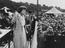Barbara Castle M.P. speaking at the Durham Miners Gala, 1953.       This is a fully retouched and clean, publication quality