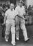 Cricket critics play a charity match at the Didsbury Cricket Club, 1948. R-L, E. W. Swanton of the BBC and John Kay of