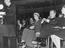 Lord Hailsham yawns as Harold Macmillan addresses the Conservative Party Confererence, Blackpool, 1958.       This is a