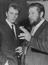 Peter Ustinov and Terence Stamp at a reception at The Savoy to launch Billy Budd.       This is a fully retouched and clean,