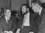 Peter Ustinov and Terence Stamp and Robert Ryan at a reception at The Savoy to launch Billy Budd, 1961.       This is a