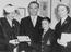 Stanley Matthews and his family after receiving his CBE at Buckingham Palace, 1957.       This is a fully retouched and