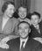 Stanley Matthews arrives in London with his family before receiving his CBE at Buckingham Palace, 1957.       This is a