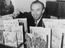 Stanley Matthews is 48 years old, photographed here with his cards at his Blackpool home, 1960.       This is a fully