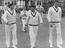 Donald Bradman leads the Australian Cricket Team out onto the field at Worcester, included in the photo are Hassett and