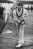 Donald Bradman practices bowling at Nottingham, 1938.       This is a fully retouched and clean, publication quality copy of
