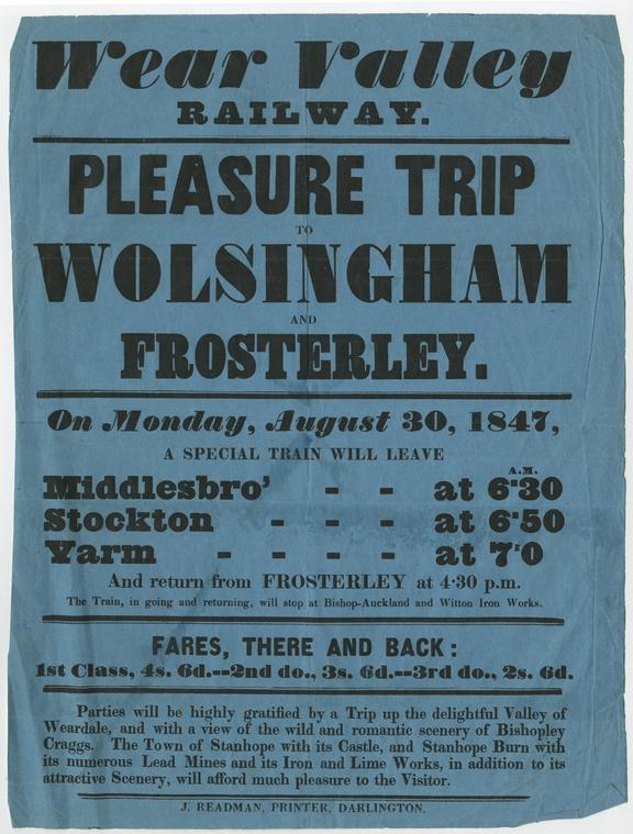 Notice, Wear Valley RLWY, pleasure trip to Wolsingham and Frosterley, 1847