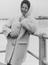 Barbara Castle M.P. beside a rough sea at the Labour Party Conference in Brighton, 1962.       This is a fully retouched and