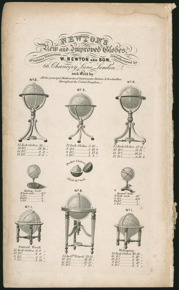 Handbill: Newton's Globes.  Copywork.