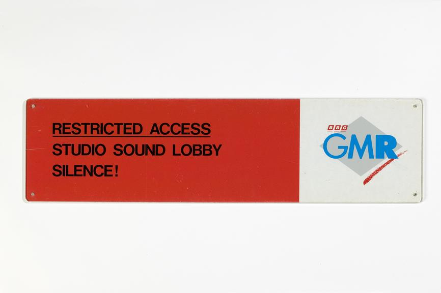 BBC GMR studio sign.Photographed on a white background.