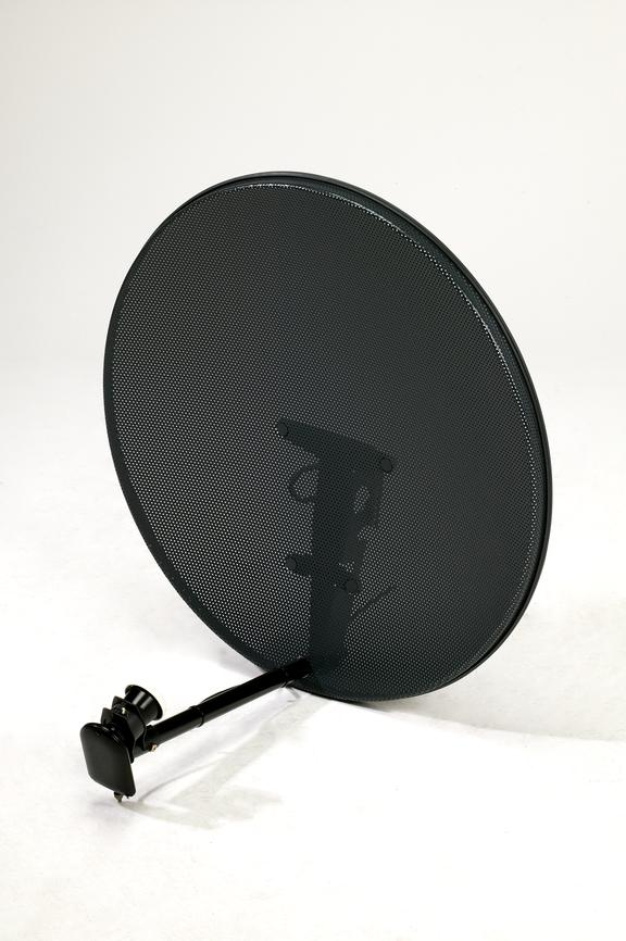 Satellite dish to receive Sky Television.Photographed on a white background.