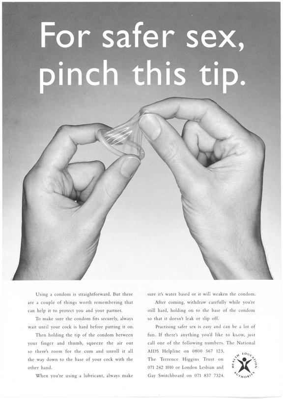 """Poster for """"For safer sex, pinch this tip."""" One of Approximately 800 health education posters produced for the Central"""