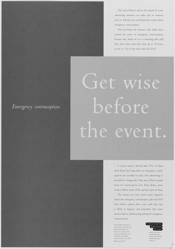 """Poster for """"Emergency Contraception. Get wise before the event."""" One of Approximately 800 health education posters"""