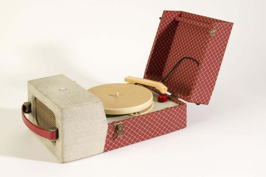 Ferranti record player, 1956.Photographed on a white background.