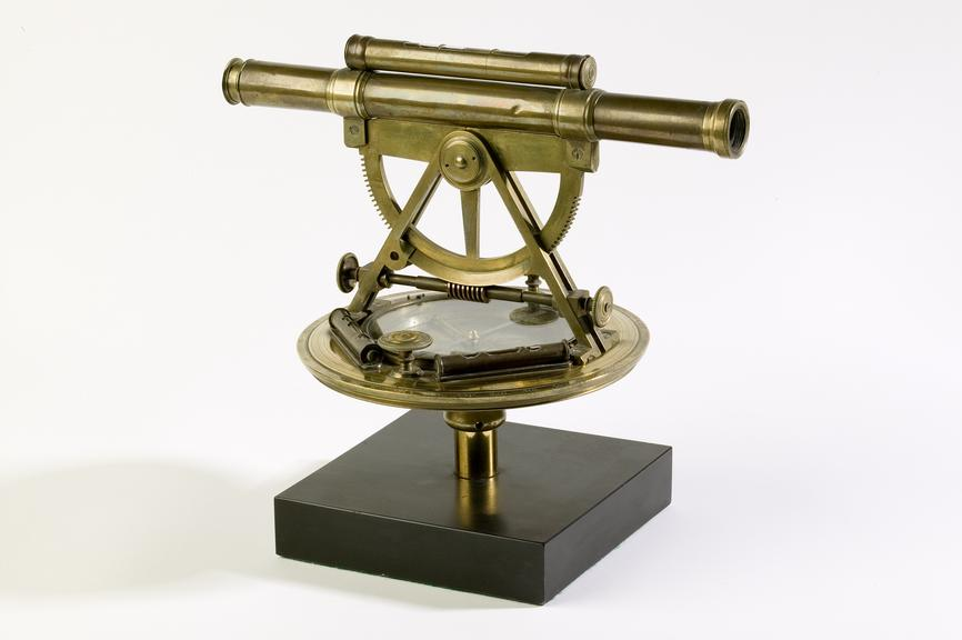 Altazimuth theolodite, made by William Barker, Wigan, c.1760.Photographed on a white background.