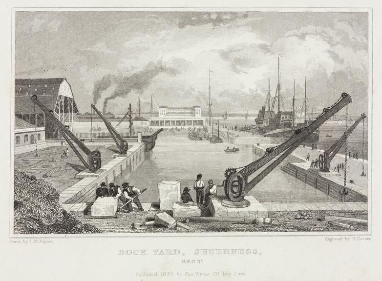 Dock Yard, Sheerness, Kent by T. Garner after T.M. Raynes (1830) 10x15cm. Steel engraving.
