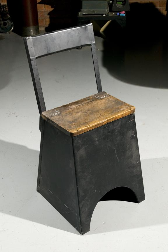 Box stool, Photographed on display in the Textiles gallery.