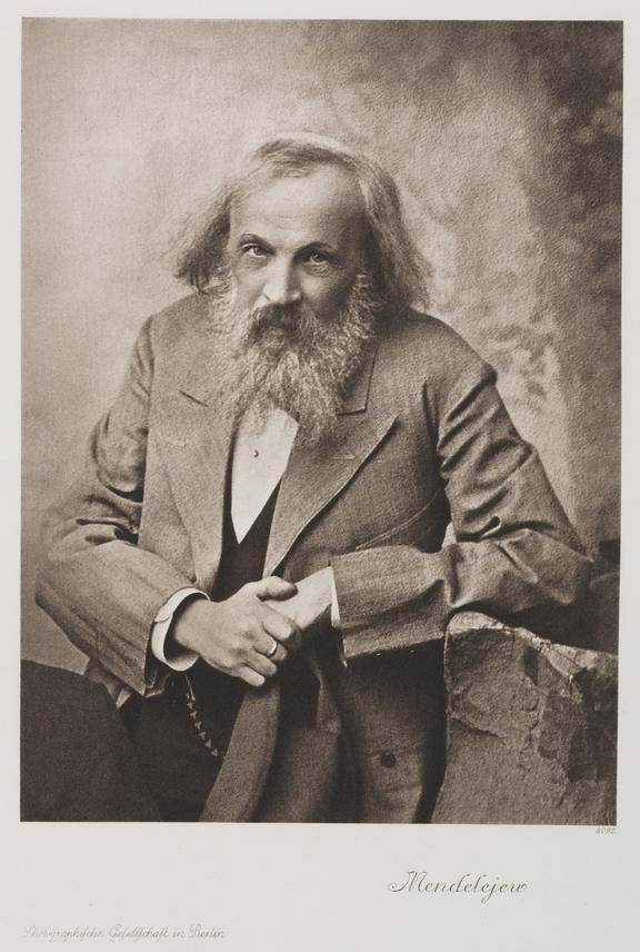 Portrait: photogravure: Dmitrii Ivanovich Mendelejeu / Photographische Gesellschaft Berlin