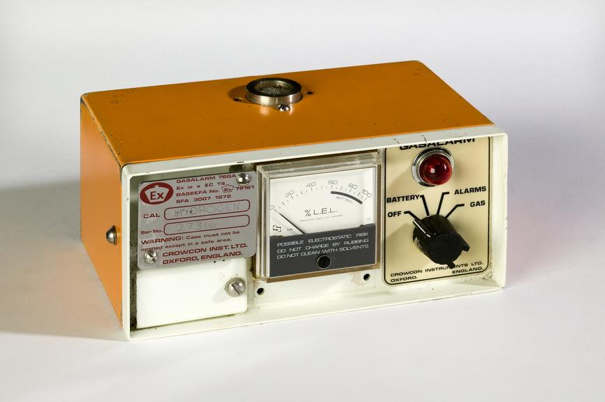 Gas detector, made by Crowcon Instruments Ltd, Oxford, c.1985.Photographed on a white background.