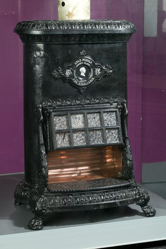 Gas fire, c.1885.Photographed on display in the Gas gallery.