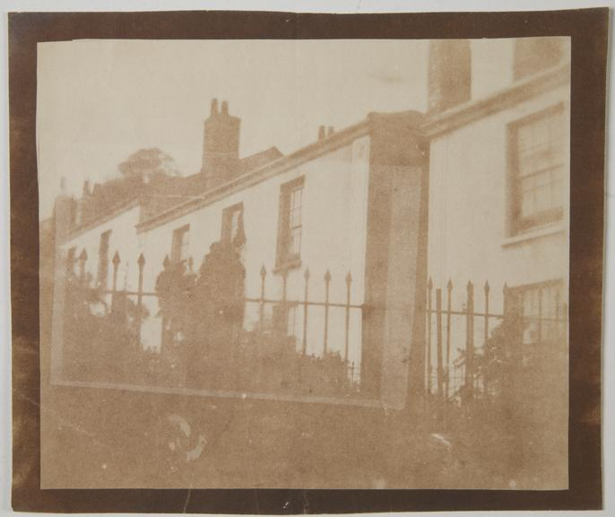 View of a row of houses, Roger Hunt's house in Falmouth. Energlatype, 1844