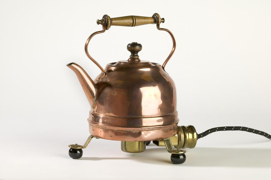 Archer electric kettle, c.1902.Photographed on a white background.