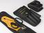 3 x leather belt attachment pouches, containing a pair of scissors, yellow seat-belt cutter and disposable glove pouch.