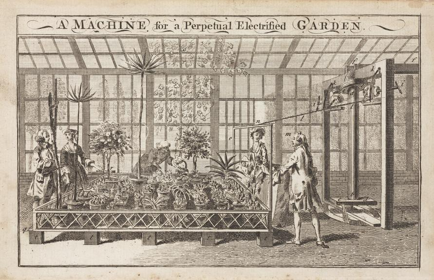 Engraving. A machine for perpetual electrified garden. Unsigned. Book or magazine illustration 177-?