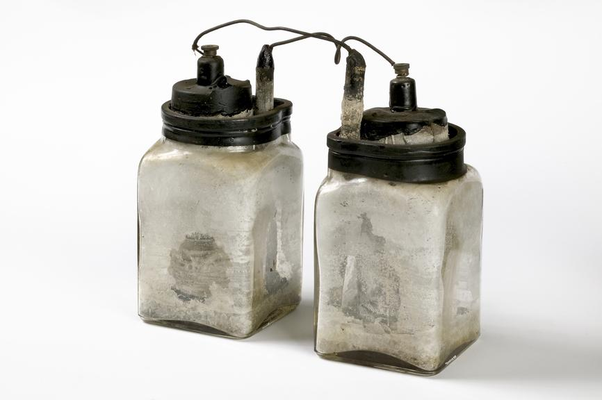 Leclanche cell battery in a jar.Photographed on a white background.