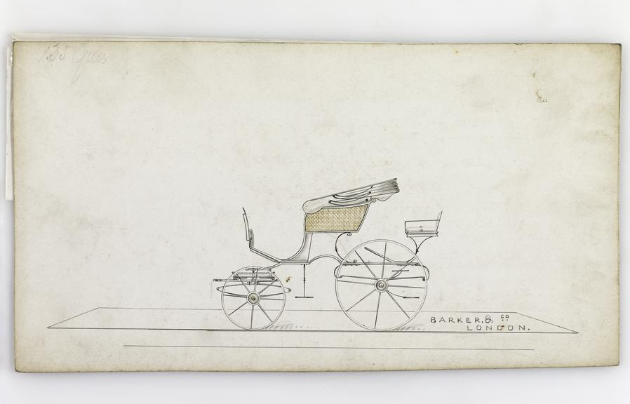 Pen and ink, watercolour wash on board, [design for a] Spider Phaeton carriage / Barker & Co., London, [ca1840], 14.8 x