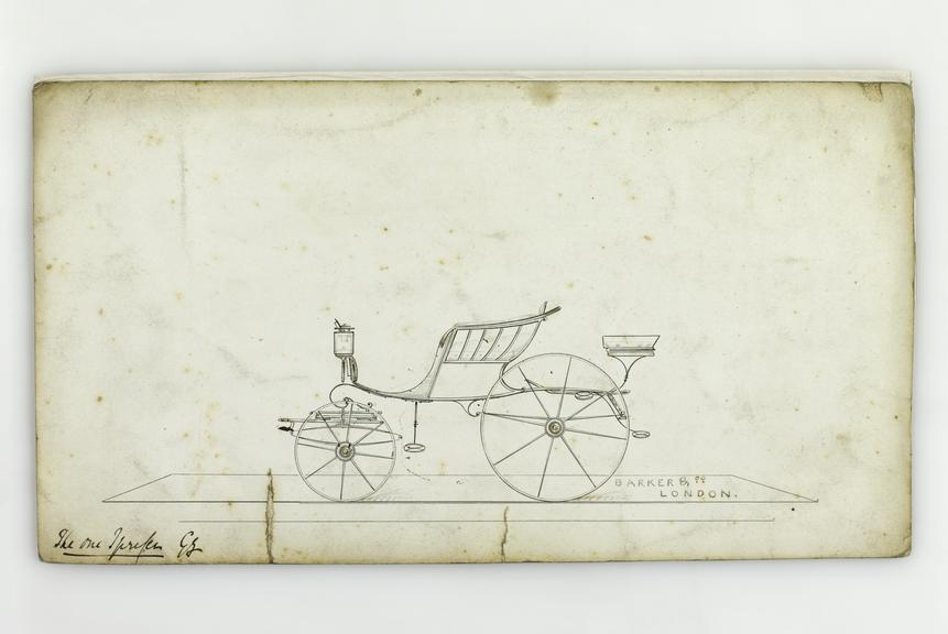 Pen and ink, watercolour wash on board, [design for a] Spider Phaeton carriage / Barker & Co., London, [ca1840], 15.2 x