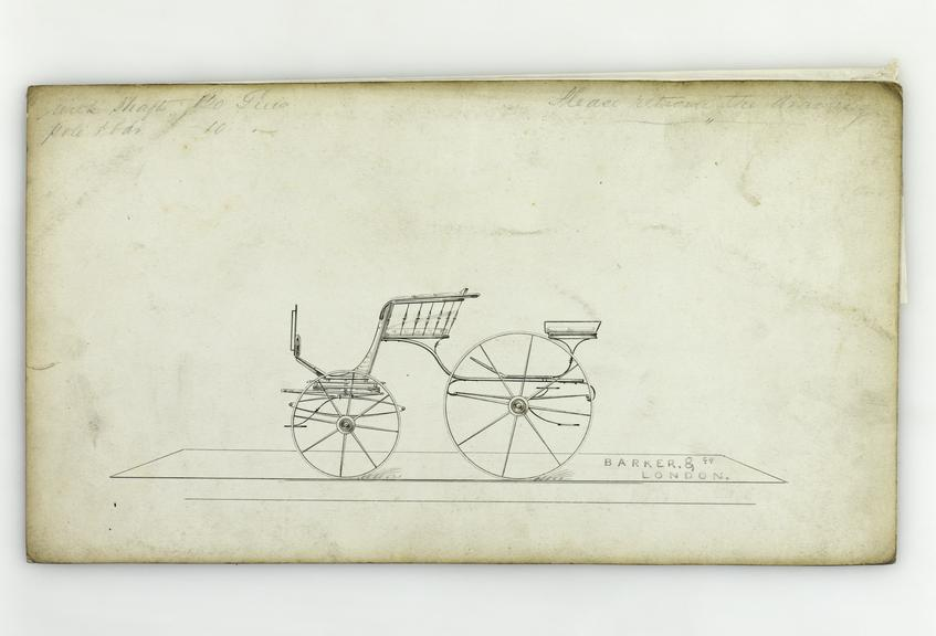 Pen and ink, watercolour wash on board, [design for a] Spider Phaeton carriage / Barker & Co., London, [ca1840], 16 x
