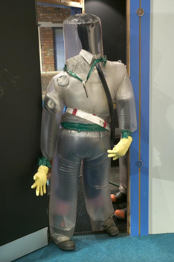 Windscale suit, c. 1990.Photographed on display in the Electricity gallery.