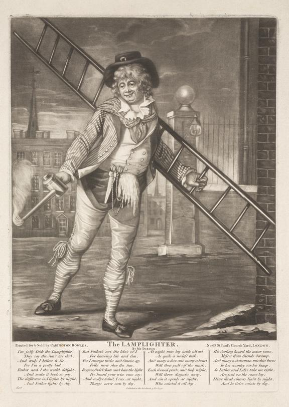 Mezzotint, 'The Lamplighter', London, for Carington Bowles 1790. 352x250mm (within plate marks) 41x28cm (overall)