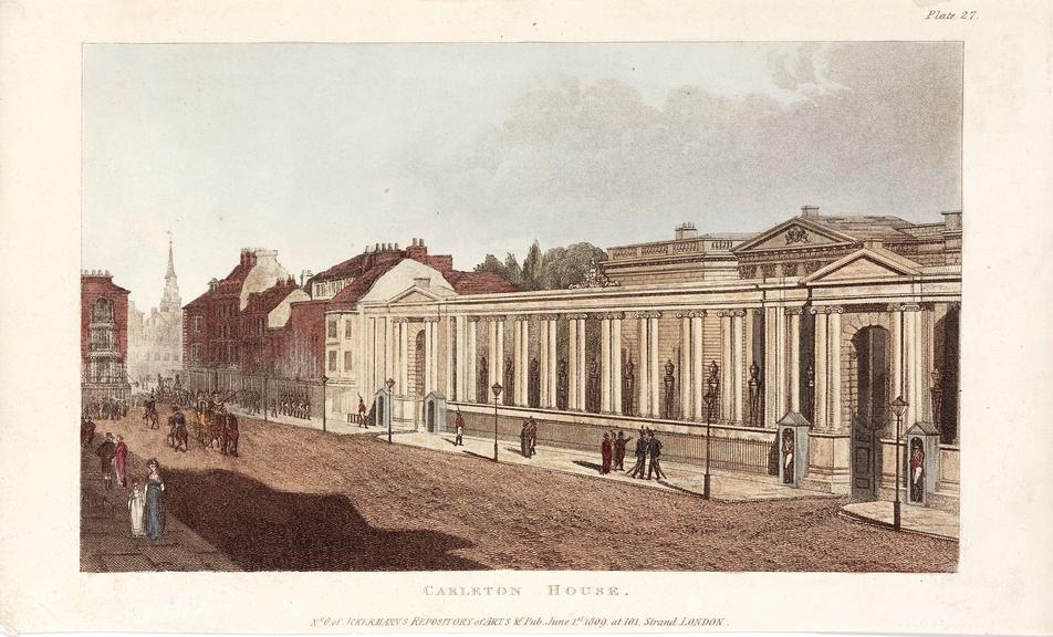 Engraving, hand coloured, 'Carlton House'. Showing the gas lights along Pall Mall. London,  Ackermann's Repository