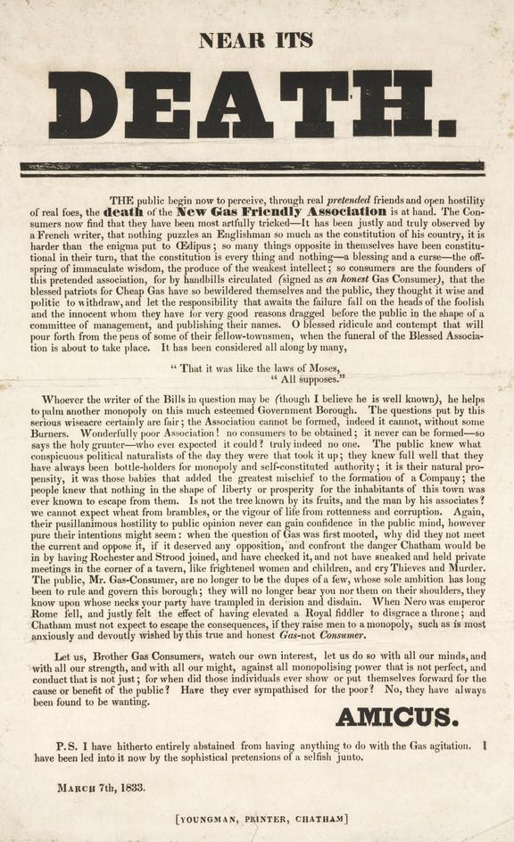 New Gas Friendly Association 'Near its death'. 1833. Broadsheet. 33.5x21.5cm (overall)