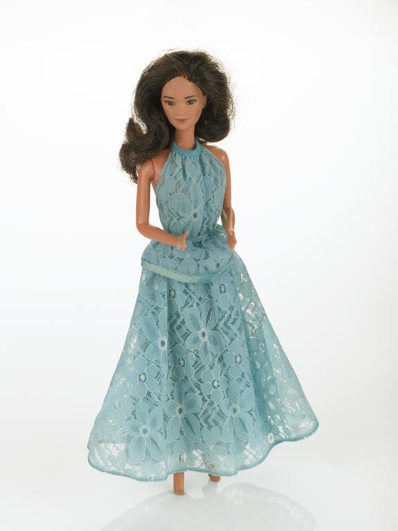 Doll, Barbie, white skinned oriental, in full length shoulderless blue dress with shoulder length hair, Mattel Inc.,