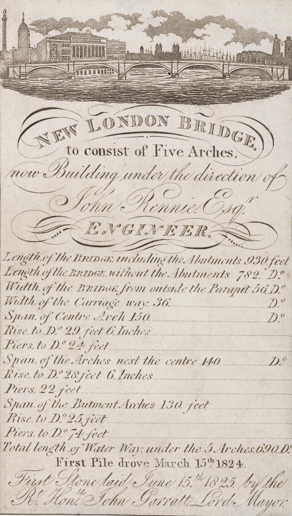 New London Bridge: Engraving; handbill, vignette with specifications (1825) 10x17cm.
