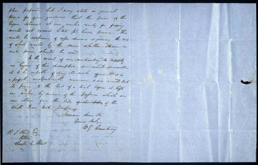 Letter. W G Armstrong to R S Reid. Front. 20th November 1847. Rear.