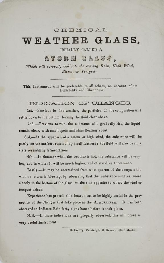Chemical Weather Glass usually called a storm glass./ letterpress. printed B. Creevy, 6 Holles St, Clare Market,