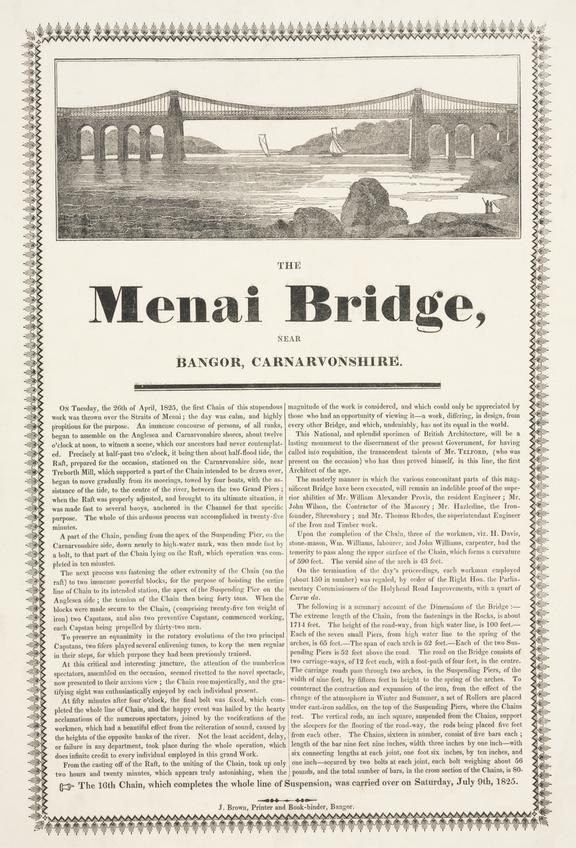Menai Bridge. Broadsheet with letterpress and woodcut. J. Brown, printer. Bangor [1826]