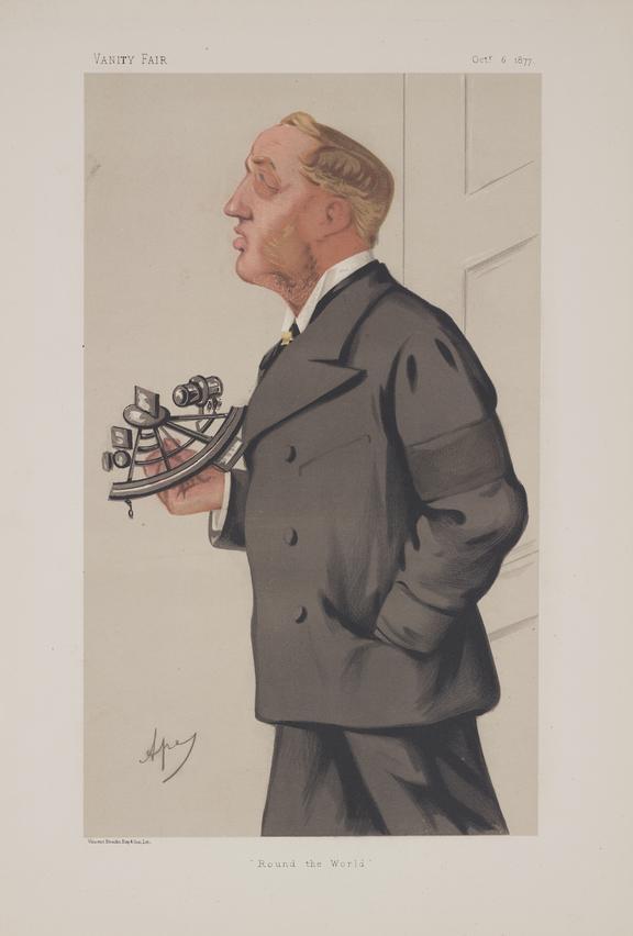 Thomas Brassey. Chromolithograph. Vanity Fair Portrait of: Thomas Brassey, 40 x 27 cm,  with descriptive sheet.