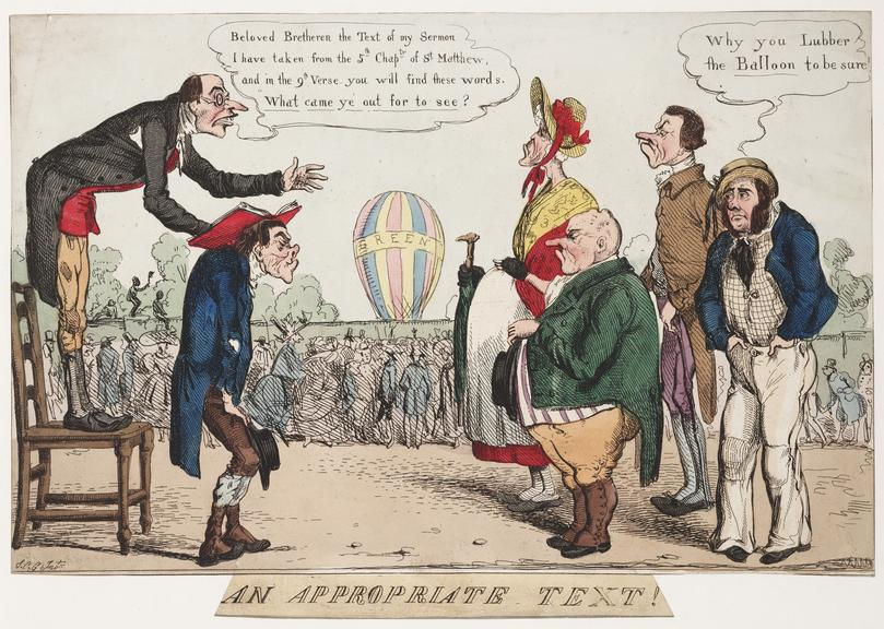 An appropriate text! [caricature on Green's balloon ascent]. Hand Coloured Engraving.