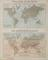 Geographical Diagram: Tidal chart of the world showing the process of the wave of high water. Botanical map showing the